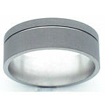 8MM FLAT TITANIUM BAND WITH (1).5MM OFF CENTER GROOVE IN A SANDBLAST FI...