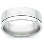 8MM FLAT TITANIUM BAND WITH(1).5MM OFF CENTER GROOVE. THE LARGER EDGE I...