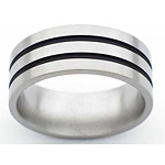 8MM FLAT TITANIUM BAND WITH(2)1MM ANTIQUED GROOVES IN A SATIN FINISH.