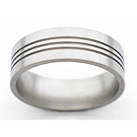8MM FLAT TITANIUM BAND WITH(3).5MM GROOVES IN A SATIN FINISH.