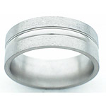 8MM FLAT TITANIUM BAND WITH A SMALL DOME IN CENTER. EDGES ARE POLISHED AN...