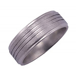 8MM FLAT TITANIUM BAND WITH GROOVED EDGES AND (3).5MM GROOVES WITH SATIN...