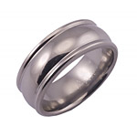 8MM DOMED TITANIUM BAND WITH ROUNDED EDGES IN A POLISH FINISH.