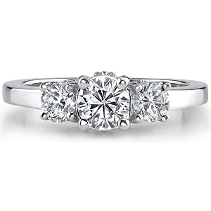 14k White Gold Three Stone Diamond Semi Engagement Ring