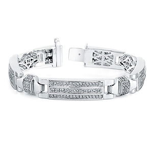14k White Gold Mens Pave Diamond Bracelet