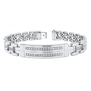 14k White Gold Mens Diamond Bracelet