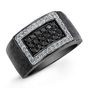 Black Sterling Silver Black and White Diamond Mens Ring