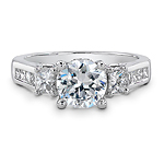 14k White Gold Diamond Three Stone Semi Mount