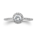 14k White Gold Petite Diamond Halo Semi Mount