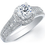 14k White Gold Diamond Semi Mount Halo Engagement Ring
