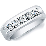 14k White Gold Mens Channel Set Diamond Ring
