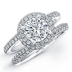 14k White Gold Micro Pave Diamond Halo Engagement Ring