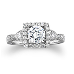 14k White Gold Vintage Detail Diamond Semi Mount