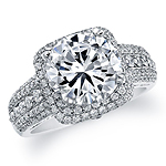 14k White Gold Diamond Halo Pave Semi Mount