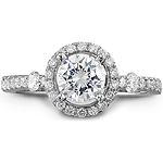 14k White Gold Halo Engagement Ring Set With Side Stones