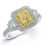 18k White and Yellow Gold Fancy Yellow Diamond Ring