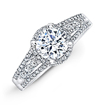 14k White Gold White Diamond Halo Split Shank Engagement Ring