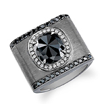 18k Brushed Black Gold Rose Cut Black and White Halo Diamond Ring