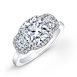 18k White Gold Cushion Cut Diamond Engagement Ring with Half Moon Side Stones