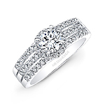 14k White Gold Three Row Diamond Engagement Ring