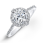 14k White Gold Diamond Halo Engagement Ring