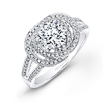 14k White Gold Linked Ring Diamond Halo Engagement Ring