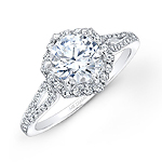 14k White Gold Six Sided Diamond Halo Engagement Ring