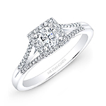 14k White Gold Split Shank Square Halo Diamond Engagment Ring