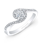 14k White Gold Diamond Swirl Engagement Ring