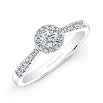 14k White Gold Tapered Shank Diamond Halo Engagement Ring
