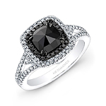 14k White and Black Gold Black Rose-Cut Diamond Center Engagement Ring