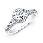 14k White Gold Split Shank White Diamond Halo Engagement Ring