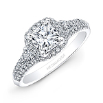 14k White Gold Diamond Halo Diamond Side Stone Engagement Ring