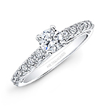 14k White Gold White Diamond Engagement Ring