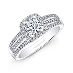 14k White Gold Split Shank Square Halo Engagement Ring Bridal Set