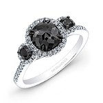 14k White and Black Gold Three Stone Black Diamond Engagement Ring