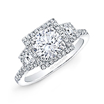 18k White Gold Square Halo Trapezoid Diamond Side Stone Engagement Ring
