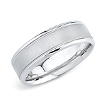 14k White Gold Mens Wedding Band 7mm Comfort Fit