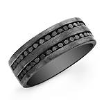 Black Sterling Silver Black Diamond Mens Band