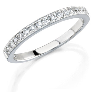 14k White Gold Pave Classic Ladies Diamond Band
