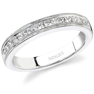 14k White Gold Channel Princess Cut Diamond Band