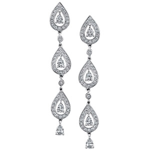 14k White Gold Pave Prong Droplet Diamond Earrings