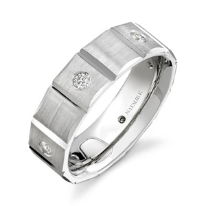 14k White Gold Bezel Round Diamond Men
