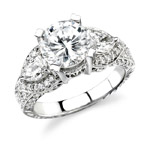 14k White Gold Diamond Engagement Ring with Pear Shaped Side Stones