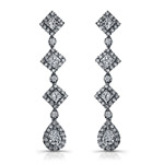 18k White Gold Princess Emerald Diamond Drop Earrings