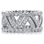 14k White Gold Pave Bezel Diamond Fashion Ring