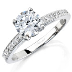 14k White Gold Pave Bezel Diamond Engagement Semi Mount Ring