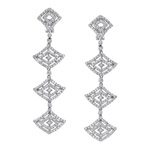 14k White Gold Dangle Diamond Earrings NK14141W