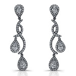14k White Gold Pear Shaped Diamond Earrings