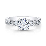 14k White Gold Prong and Bezel Set Round Diamond Engagement Ring